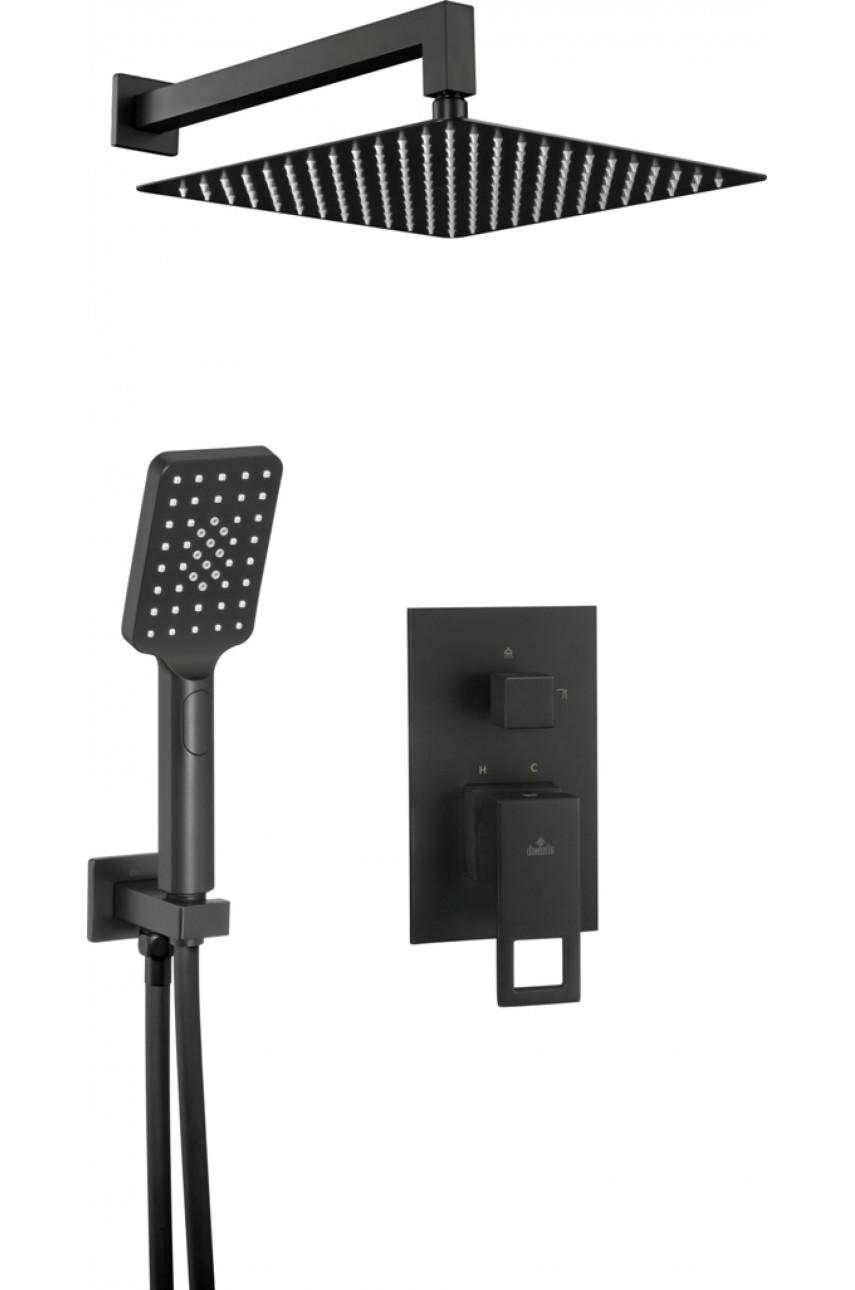 Anemon Nero (черный) смеситель для ванны (душа) скрытого монтажа (комплект)