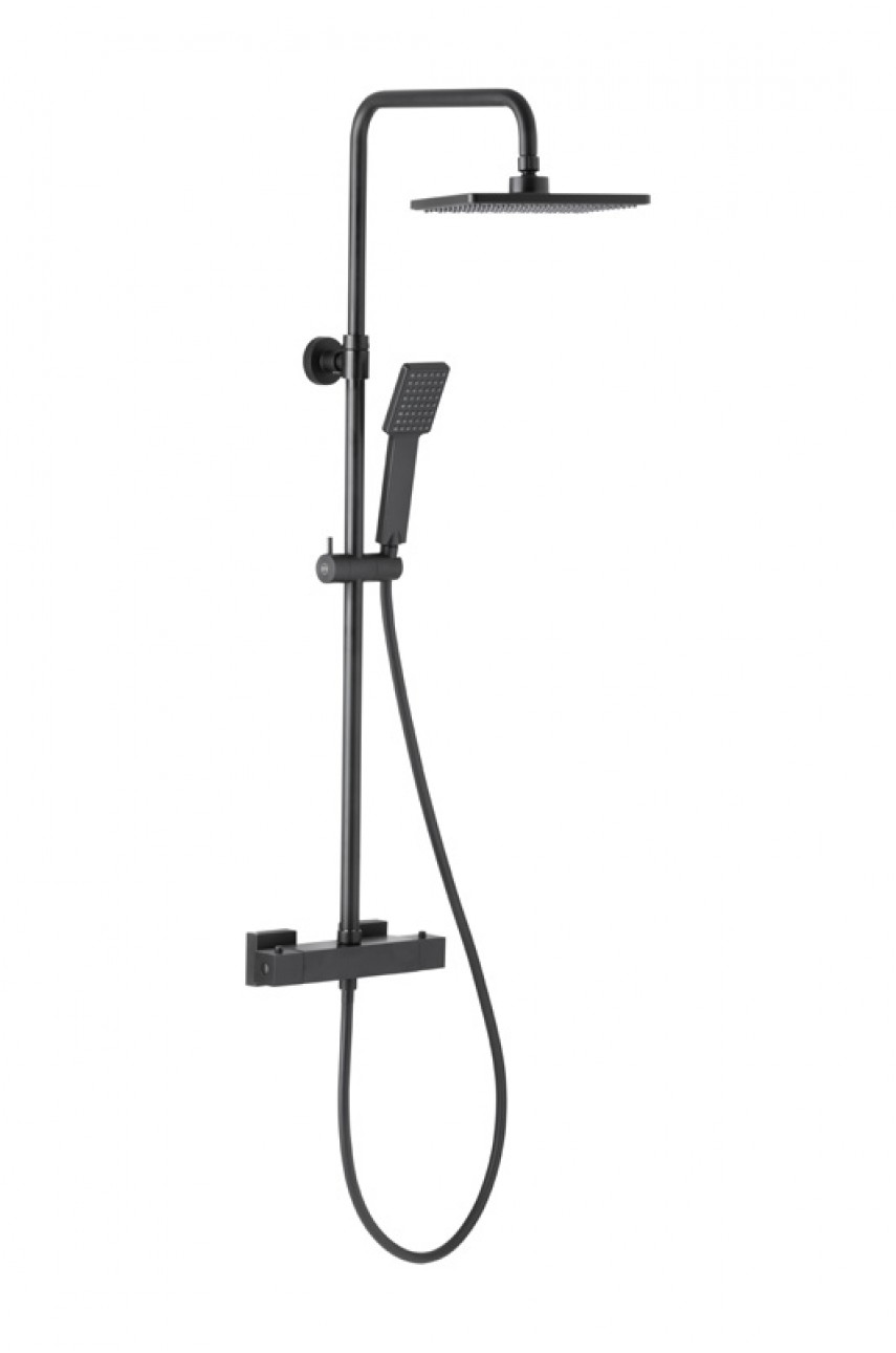 Logon душевая стойка с термостатом (черный)