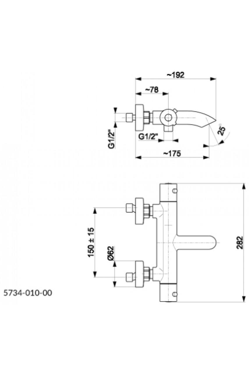 Cмеситель с термостатом для ванной Moza 5734-010-00