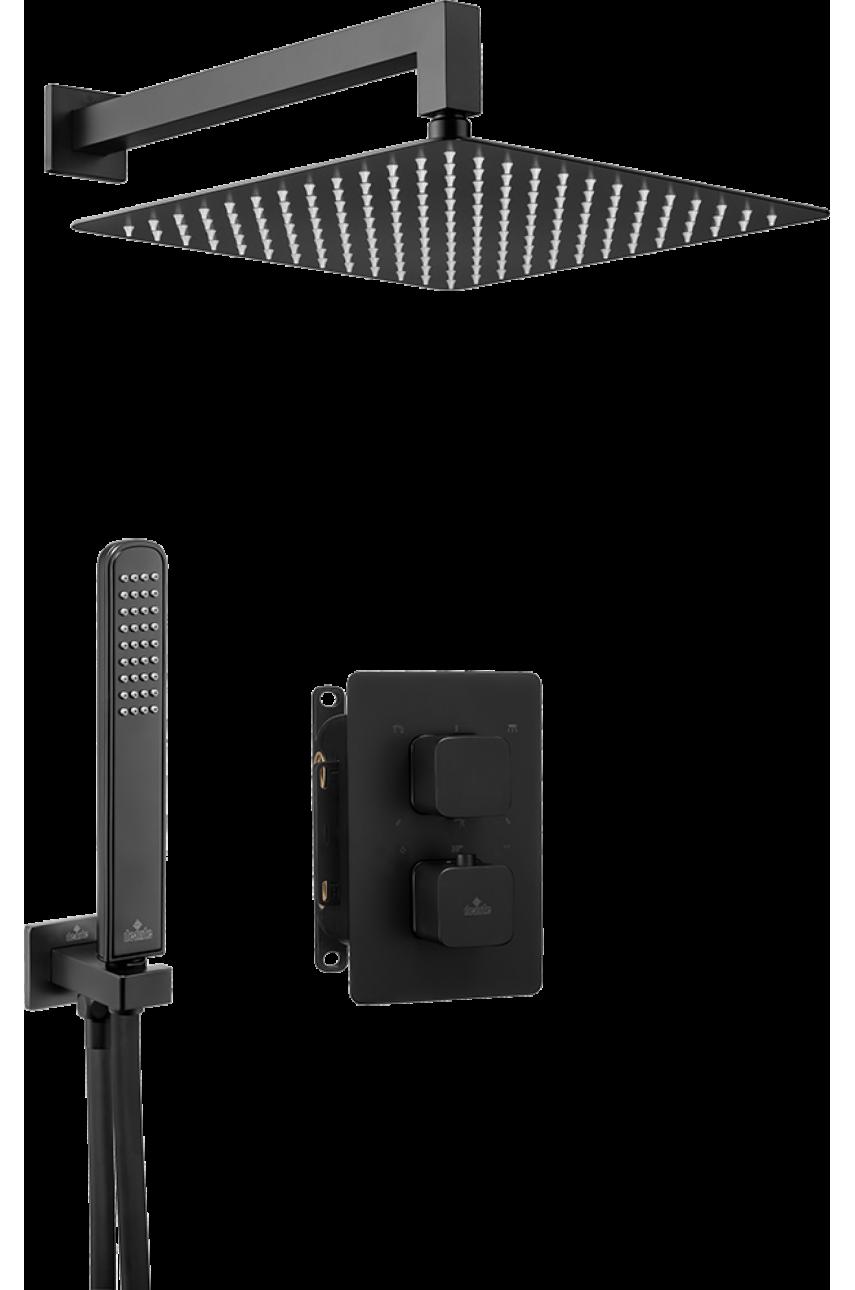 Nero Black (квадро,закругленный) комплект с боксом скрытого монтажа термостатический