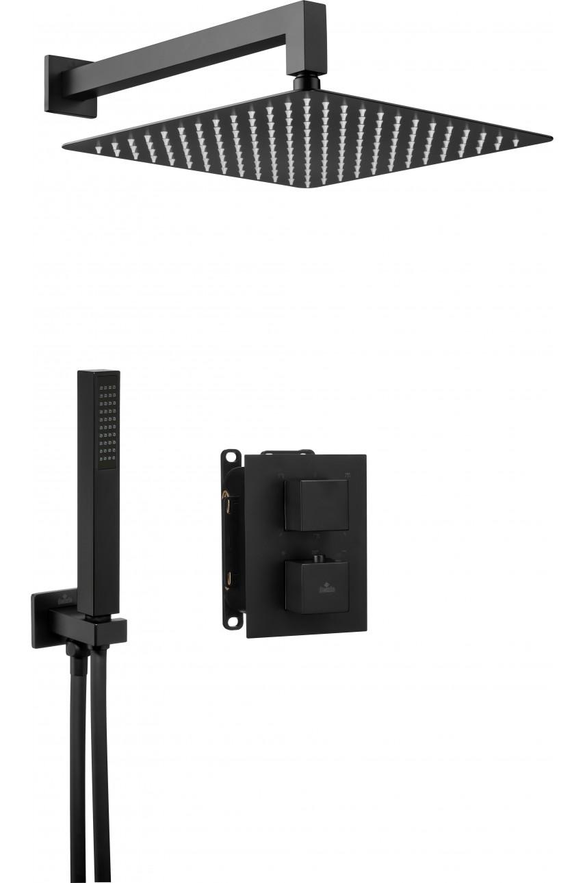 Nero Black (квадро) комплект с боксом скрытого монтажа термостатический