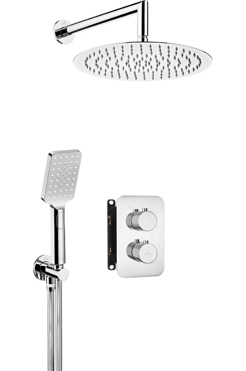 Nero Chrom (круглый) комплект с боксом скрытого монтажа термостатический