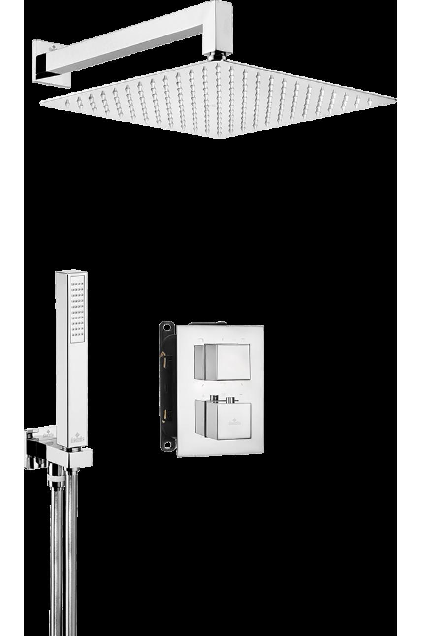 Nero Chrom (квадратный) комплект с боксом скрытого монтажа термостатический
