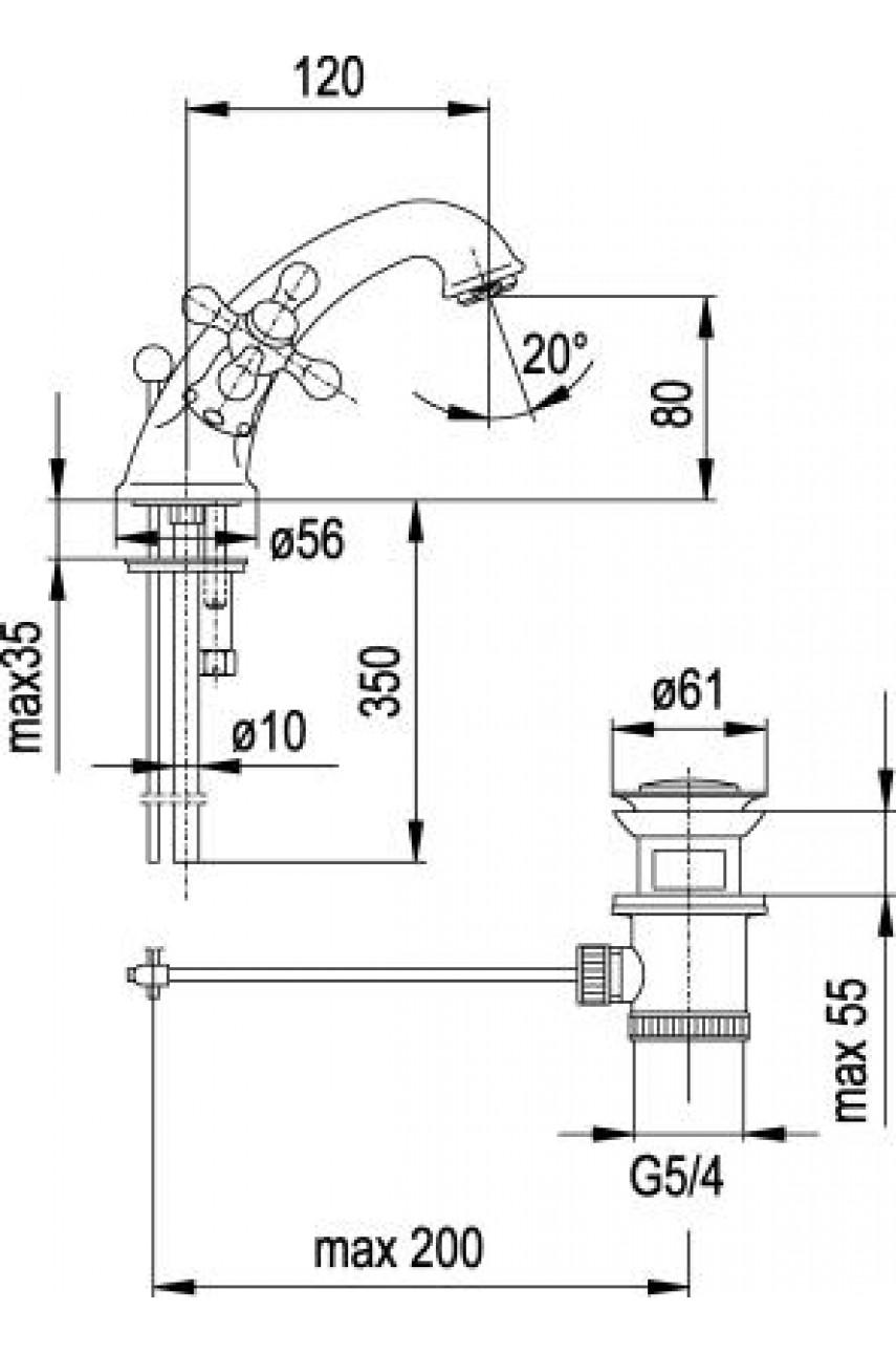 Retro  смеситель для умывальника 848